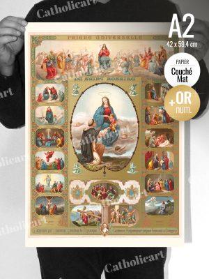 Le Saint Rosaire et ses XV Mystères (A2) + Dorure numérique