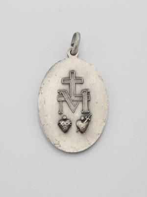 Médaille Miraculeuse 42mm en métal argenté + sa carte explicative