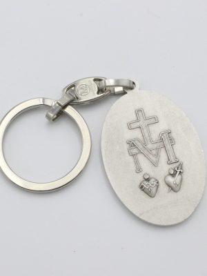 Médaille Miraculeuse en métal argenté – porte clés en métal 42mm
