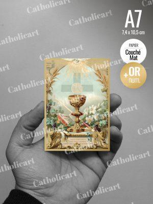 Carte Calice et les 7 dons du Saint Esprit : Communion / Confirmation (74x105mm Recto/Verso)